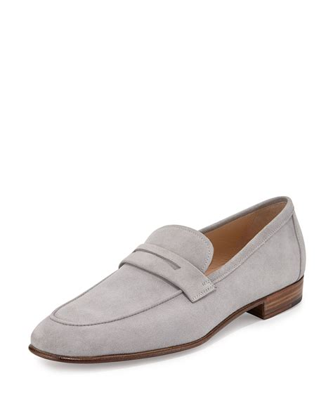 grey loafers for gravati suede loafer in gray for lyst