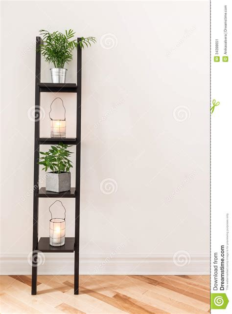 Home Decor Candle Lanterns Shelf With Plants And Lanterns Stock Image Image 34398651