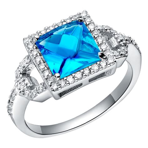 Cincin Baby Blue Topaz Sterling 925 Silver Size 7 1 high quality baby blue sapphire with white topaz 925 sterling silver jewelry wedding square ring