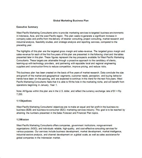 business and marketing plan template marketing business plan template 8 free word excel