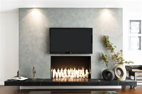 faux concrete fireplace modern living room los