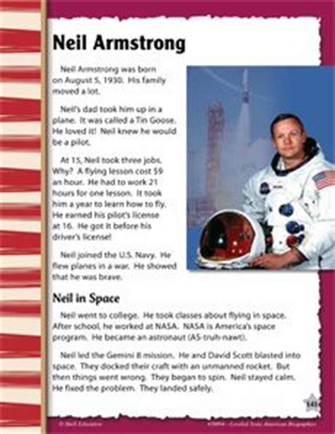 biography neil armstrong astronaut neil armstrong freebie biography article reading compreh