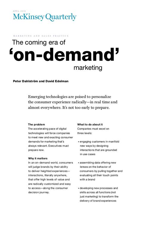 experience on demand what reality is how it works and what it can do books the coming era of on demand marketing