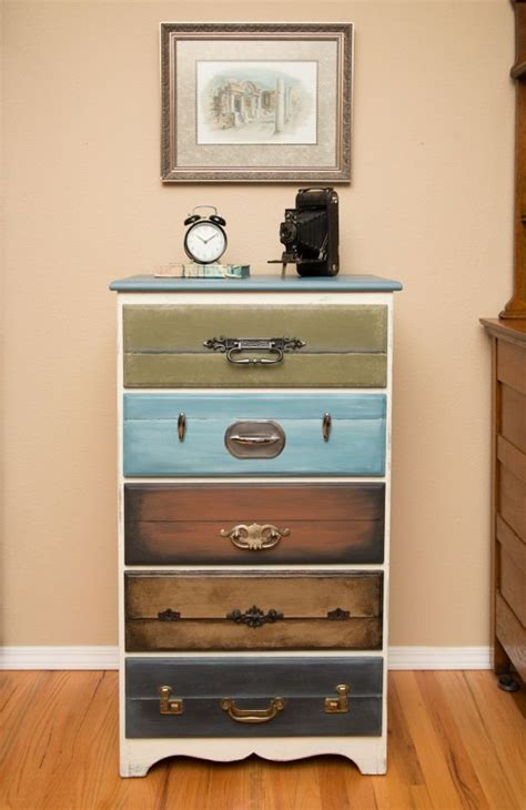 suitcase dresser dresser with drawers faux painted to look like suitcases