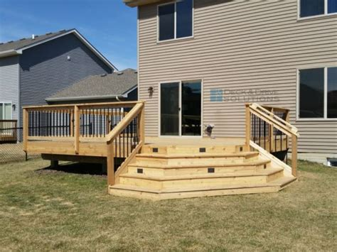 Corner Deck Stairs Design Simple Cedar Deck With Corner Stairs For Patio Expansion Des Moines Deck Builder Deck And