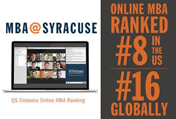 Syracuse Mba Curriculum by Mba Syracuse Ranked 8 In U S In Qs Distance Mba