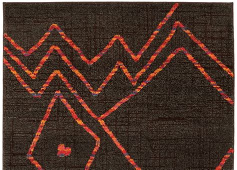 Old World Kitchen Designs Dark Brown And Orange Abstract Modern Pattern Area Rug