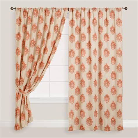 concealed tab top curtains orange damask concealed tab top curtains set of 2 world