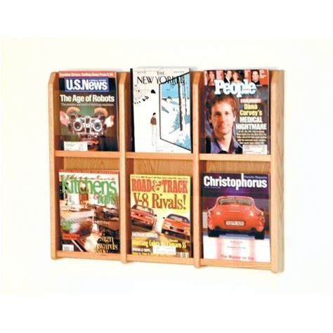 wooden wall magazine rack wooden mallet 6 magazine wall rack in light oak 451863