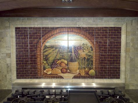 murals for kitchen backsplash decorative tile backsplash kitchen tile ideas tuscan wine ii tile mural