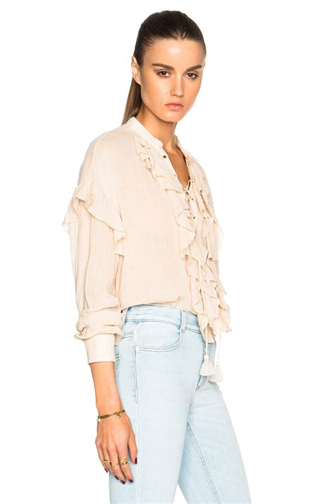 Lace Up Linen Blouse chlo 233 lace up ruffle linen blend blouse in pink neutrals
