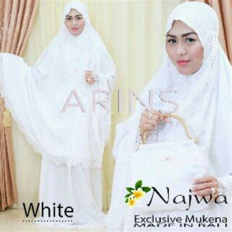 mukena bali renda najwa arins white putih polos katun