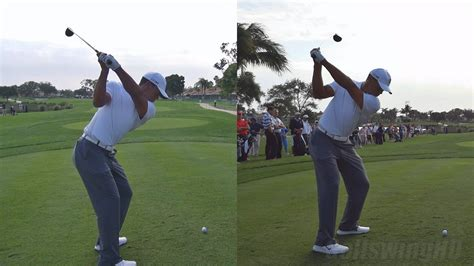 tiger swing slow motion tiger woods drive 2013 dual angles synced same swing