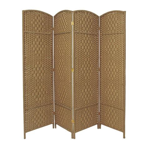 Shop Oriental Furniture Diamond Weave 4 Panel Natural Wood Room Dividers Screens