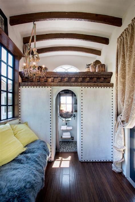 bohemian tiny house constructed  reclaimed