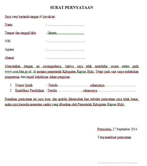 Contoh Surat Pernyataan Pendaftaran Cpns by Contoh Surat Pernyataan Kesalahan Isi Form Pendaftaran