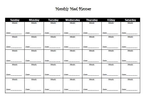 free monthly meal planner template 8 best images of monthly meal planner template printable