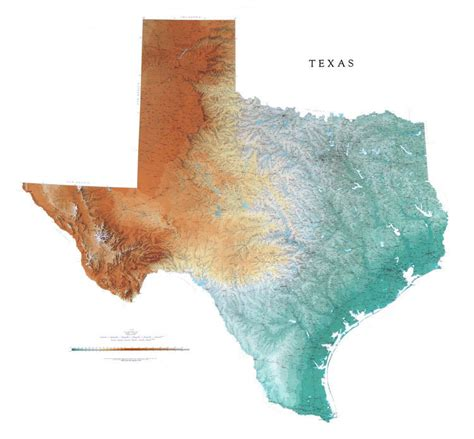 physical texas map texas wall map a spectacular physical map of texas