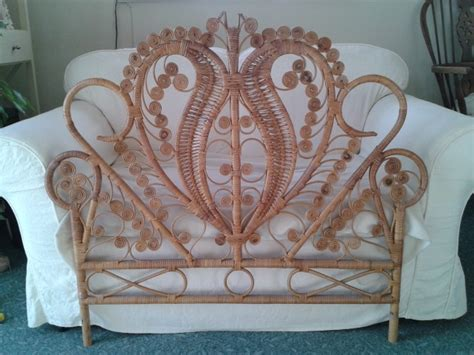 gorgeous wicker peacock headboard browns tans