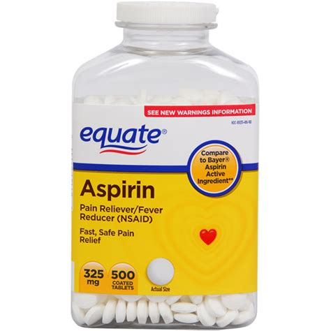 aspirin dosage equate aspirin tablets 325 mg reliever fever reducer 500 ct walmart
