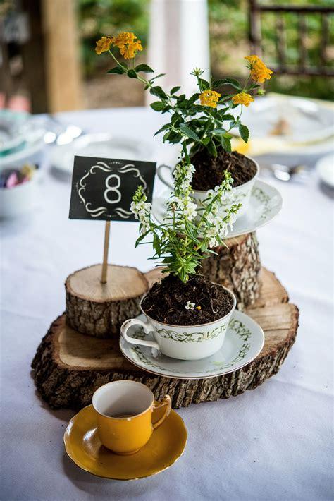 rustic wood  teacup centerpiece