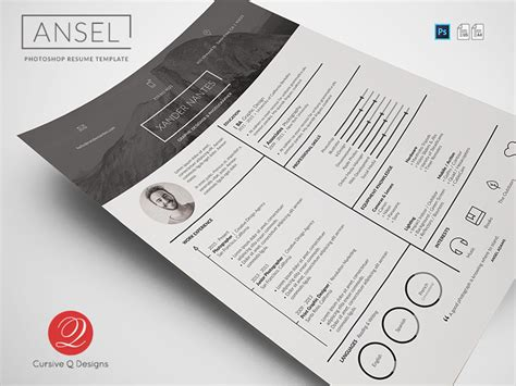 Find The Best Photoshop Resume Template Here Resume Psd Template For Photoshop