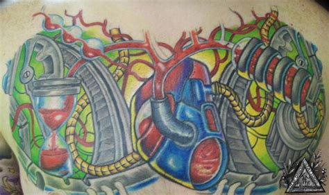 new school mechanic tattoo mechanical heart chestpiece by jeff davis sr tattoos