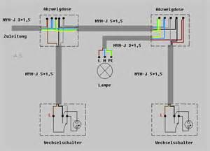 schaltplan wechselschalter mit 2 len wechselschaltung beleuchtet