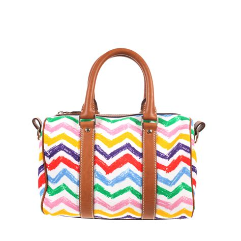 zig zag bag pattern missoni white zig zag pattern bowling bag in cotton canvas