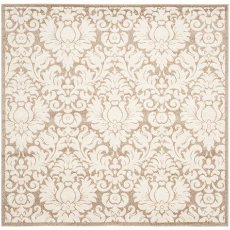 Square Indoor Outdoor Rugs Safavieh Amherst Wheat Beige 7 Ft X 7 Ft Indoor Outdoor Square Area Rug Amt427s 7sq The Home