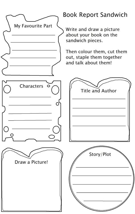 sandwich book report printable template mango chutney craft y project useful worksheets