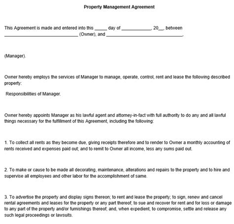 property management agreement template free property management agreement template