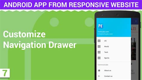 how to customize android customize navigation drawer android app from responsive website 7