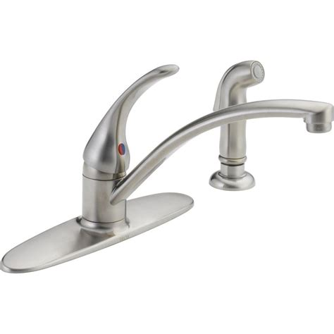 Delta Single Handle Kitchen Faucet Installation Delta Foundations Single Handle Standard Kitchen Faucet With Side Sprayer In Stainless B4410lf