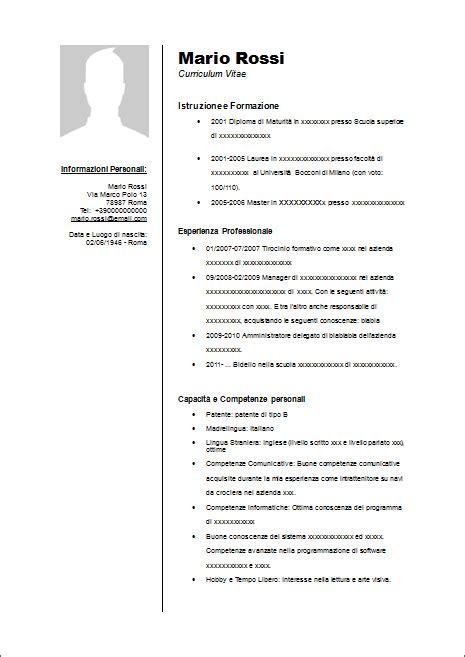 Curriculum Vitae Formato Europeo Openoffice Modello Curriculum Vitae Da Compilare