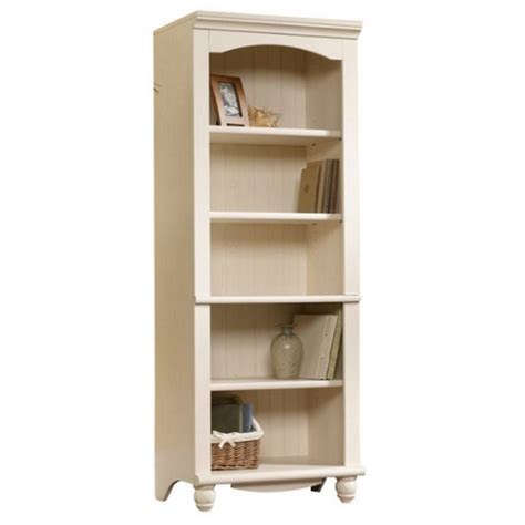 Sauder Library Bookcase Sauder Harbor View Library 5 Shelf Bookcase In Antiqued White Ebay
