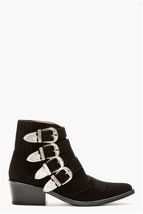 buckle boots toga pulla black suede western buckle ankle boot in black