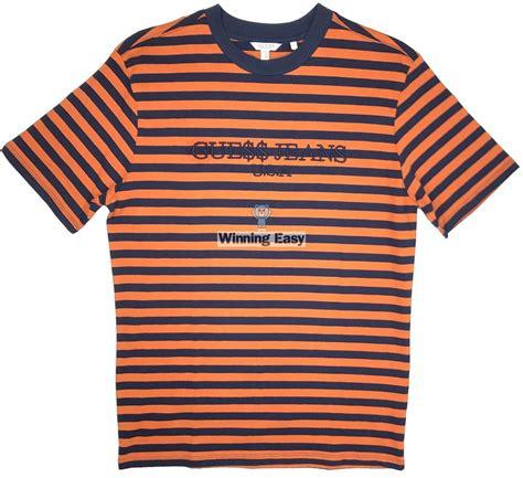 t shirt guess rock 1 guess x asap rocky orange stripes t shirt ebay