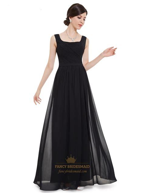 Floor Length Black Dress by Black Chiffon Square Neck Floor Length Bridesmaid Dress