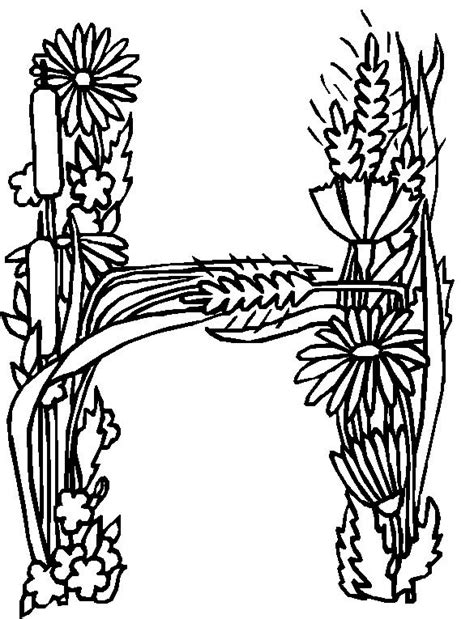 alphabet coloring pages with flowers coloring page alphabet flower h coloring me
