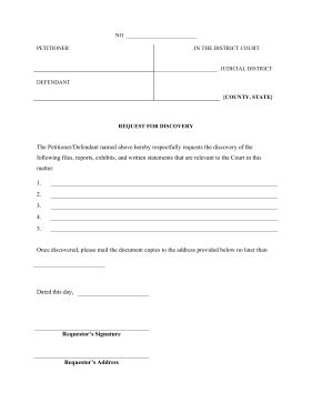 Discovery Template Printable Request For Discovery Legal Pleading Template