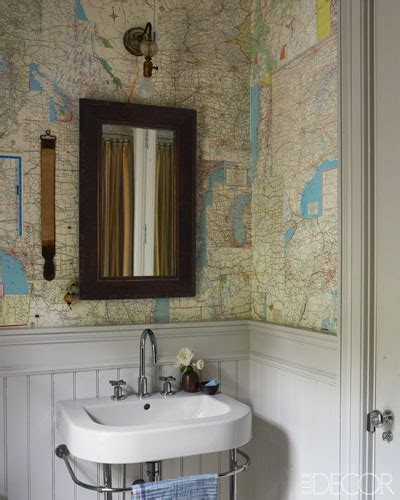 Wallpapered Bathrooms Ideas by Map Wallpaper Cottage Bathroom Farrow Amp Ball