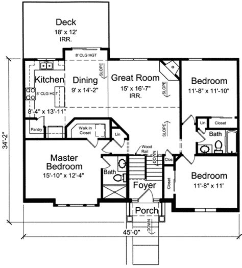 bi level home plan 39197st 1st floor master suite
