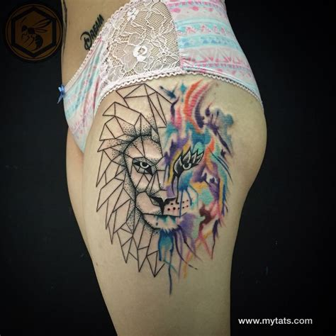 geometric lion tattoo geometric watercolor