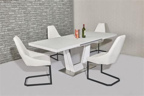White Glass Dining Tables Matt White Glass Dining Table And 8 White Chairs Homegenies