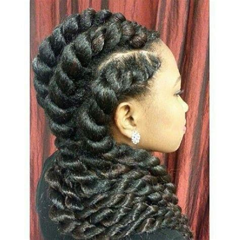 A Large Twist In Straight Hair | natural marley twist with a goddess braid style