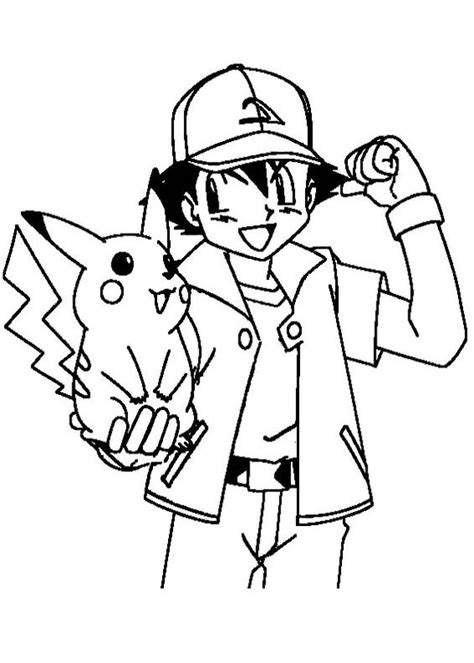 ash ketchum encouraging pikachu coloring page pokemon