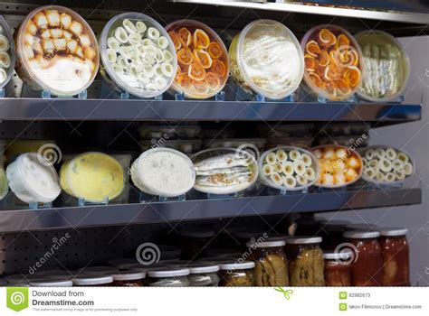 Seafood Shelf by Many Packed Seafood Products On Shop Shelf Stock Photo