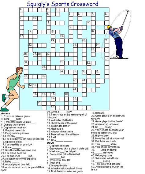 printable crossword puzzle sports image gallery sports crossword