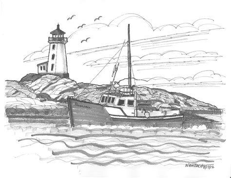 boat and lighthouse drawing peggy s cove lighthouse nova scotia drawing by richard wambach